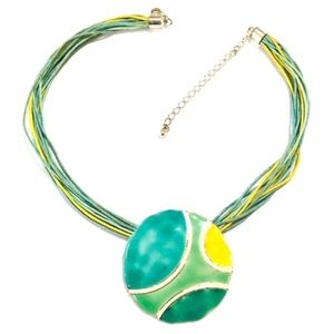 Necklace Enamelware Green Yellow Round Pendant